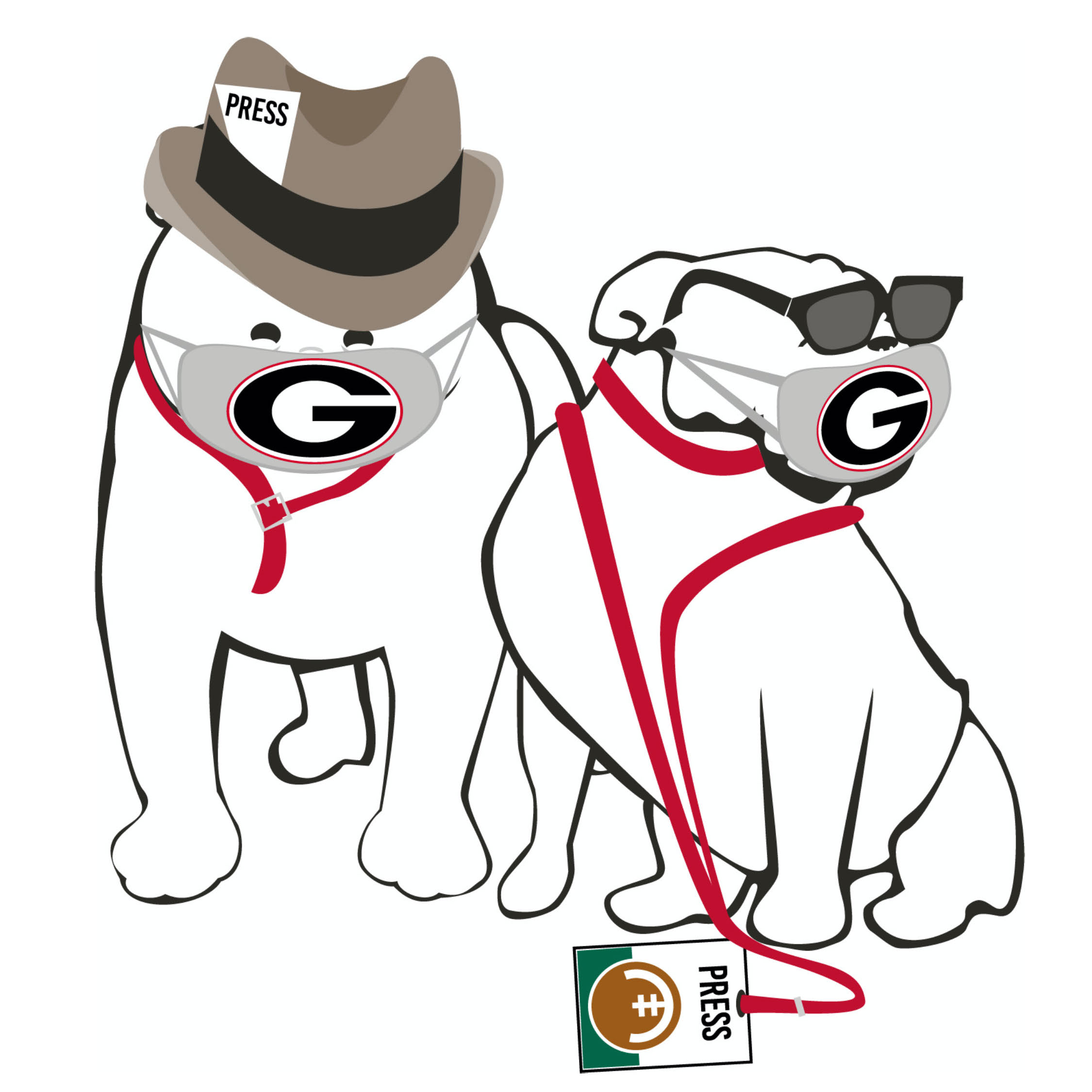 Bulldogs with face masks and press hats